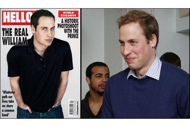 La couverure de Hello Magazine, et William au 40e anniversaire de Centrepoint.