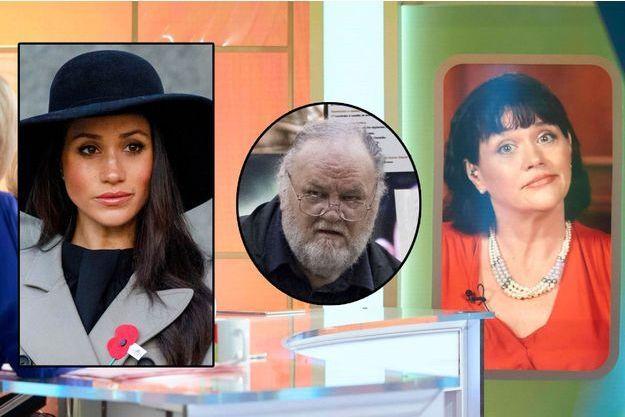 À droite, Samantha Markle en duplex sur le plateau de la chaîne ITV. En médaillon à gauche, Meghan Markle, et au centre leur père Thomas.