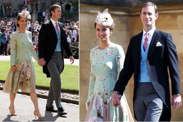 Pippa Middleton, enceinte, et son mari James Matthews au mariage du prince Harry et de Meghan Markle, le 19 mai 2018