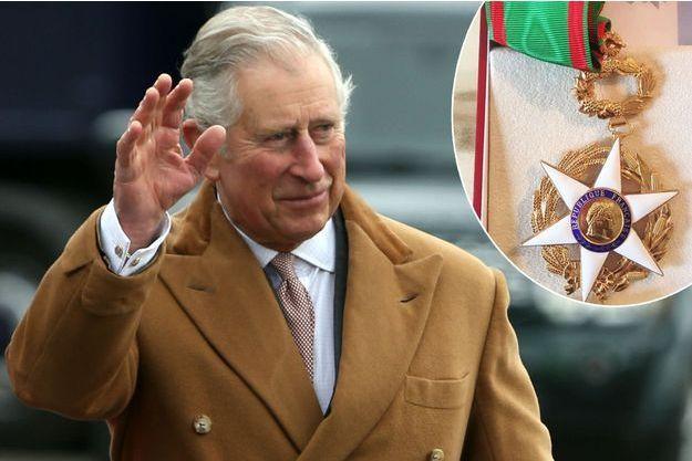 Le prince Charles le 18 mars 2017. En médaillon: la décoration de commandeur de l'ordre du Mérite agricole qui lui a été remise.