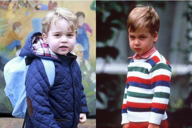 Le prince George lors de sa rentrée des classes, le 6 janvier 2015, le prince William, lors de sa rentrée des classes, le 24 septembre 1985.