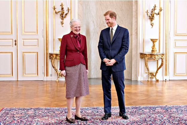 Le prince Harry et la reine Margrethe II de Danemark à Copenhague, le 25 octobre 2017