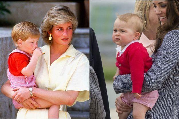 Lady Di et le petit prince Harry en 1987 ; le prince George et sa maman Kate en 2014.