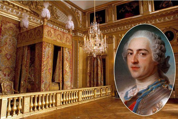 La chambre de Louis XIV à Versailles en 2016. En vignette : détail du portrait de Louis XV en armure par Quentin De La Tour (Paris, musée du Louvre)