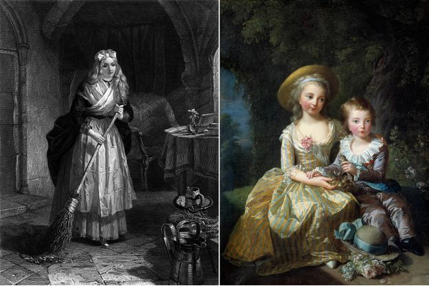 Gravure figurant Marie-Thérèse dans la prison du Temple - A droite: Marie-Thérèse et son frère cadet Louis-Joseph, par Vigée-Lebrun en 1784 (musée du château de Versailles)