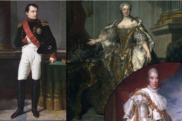 L'empereur Napoléon Bonaparte par Robert Lefevre et Marie Leszczynska par Louis Tocque (détail). En bas à droite: Charles X, par le baron Gérard (détail)