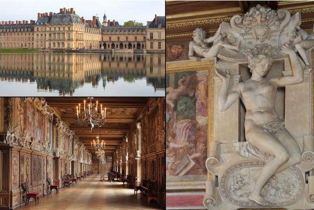 Le château de Fontainebleau, vu de la Cour de la fontaine (en haut à gauche) - La Galerie François Ier (en bas à gauche et à droite)