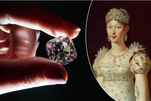 """Le """"Grand Mazarin"""" chez Christie's à Londres le 17 octobre 2017. A droite, portrait de l'impératrice Marie-Louise parée de diamants par Robert Lefevre (Musée du château de Versailles)"""