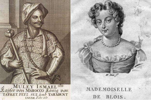Le sultan du Maroc Moulay Ismaïl. Gravure de 1726 (collection de la Bibliothèque nationale russe de St Petersbourg) - La princesse Marie-Anne de Bourbon. Gravure vers 1690.