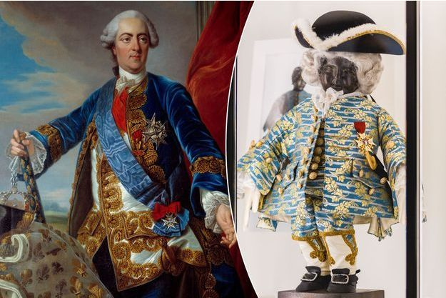 Louis XV (Atelier de Louis Michel Van Loo - musée Beaux-Arts Châlons-en-Champagne) - A droite : Réplique de l'habit offert par Louis XV au Manneken-Pis (musée GardeRobe MannekenPis Bruxelles)