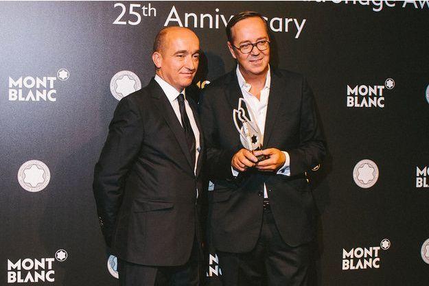 Jean-Sébastien Gerondeau et Frédéric Rouzaud à l'heure du 25ème Prix Montblanc de la Culture.