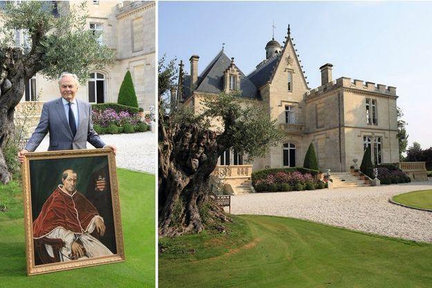 A gauche, Bernard Magrez sur la pelouse de son Château Pape-Clément avec un tableau représentant le pape Clément V. A droite, devant chacun de ses crus classés, Bernard Magrez a planté de très anciens oliviers. Moyenne d'âge : 1 500 ans !