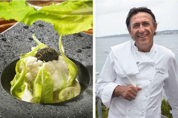A gauche : Baby chou-fleur, caviar d'Aquitaine et crème de raifort. A droite, son créateur, Patrick Jeffroy.
