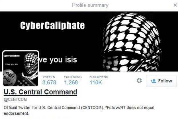 Un groupe se réclamant de l'Etat islamique (EI) a piraté, lundi, le compte Twitter du commandement de l'armée américaine au Moyen-Orient et en Asie centrale (US Central Command, CentCom).