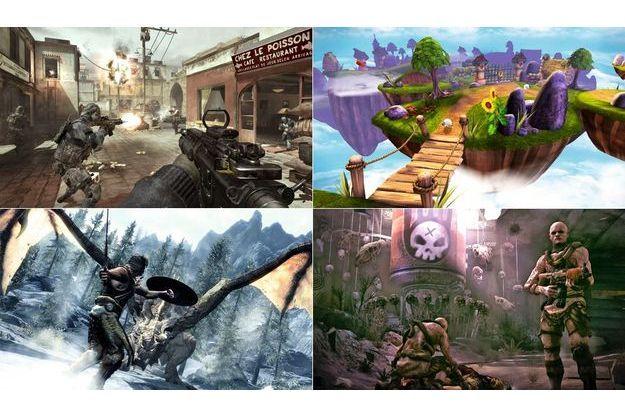 De gauche à droite : « Call of Duty. Modern Warfare 3 », « Skylanders. Spyro's Adventure »,« The Elder Scrolls V. Skyrim »,  « Rage »