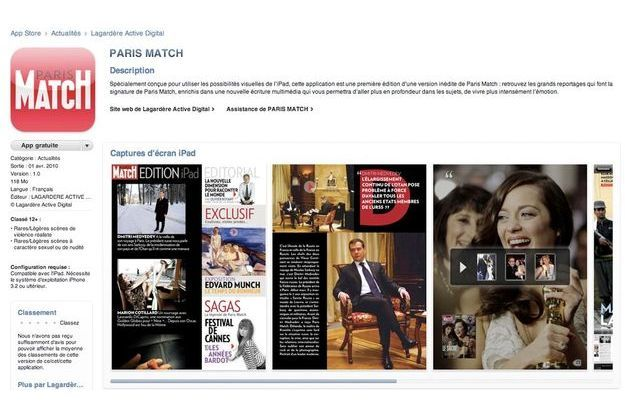 Capture d'écran de la page iTunes de Paris Match.