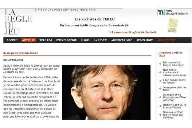 Sur le blog de BHL, Roman Polanski prend l'opinion publique à témoin