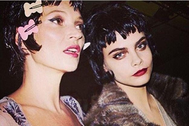Kate Moss et Cara Delevingne après le défilé Vuitton en mars 2013, sur une photo diffusée par le top de 21 ans.