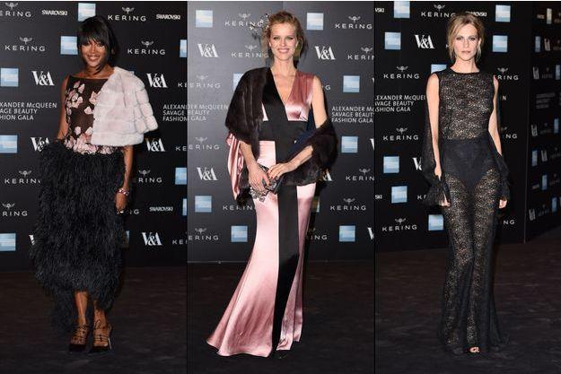 Naomi Campbell, Eva Herzigova et Poppy Delevingne à l'avant-première de l'exposition consacrée à Alexander McQueen.