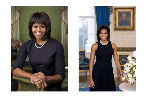 Les portraits de Michelle Obama en 2013 (à gauche) et en 2009.