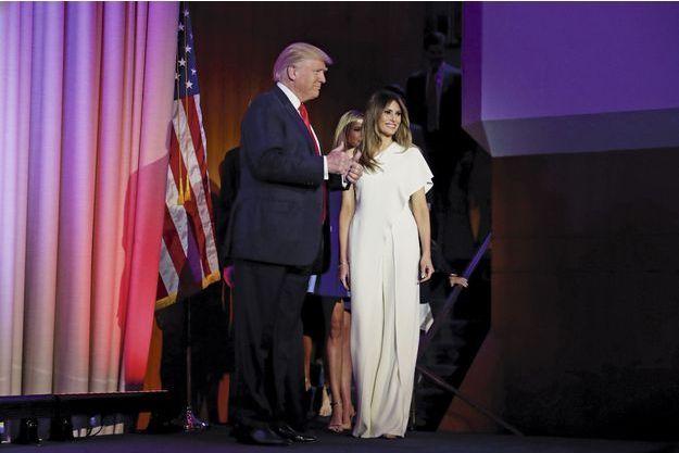 Melania Trump, en Ralph Lauren, le soir de l'élection de Donald Trump.