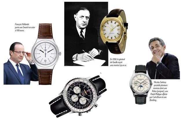 De g. à d.: François Hollande porte une Swatch en acier à 100 euros. En 1958, le général de Gaulle reçoit une montre Lip en or. Nicolas Sarkozy possède plusieurs montres dont une Rolex (poignet), une Patek Philippe oferte par Carla Bruni et une Breitling (en bas, au centre).