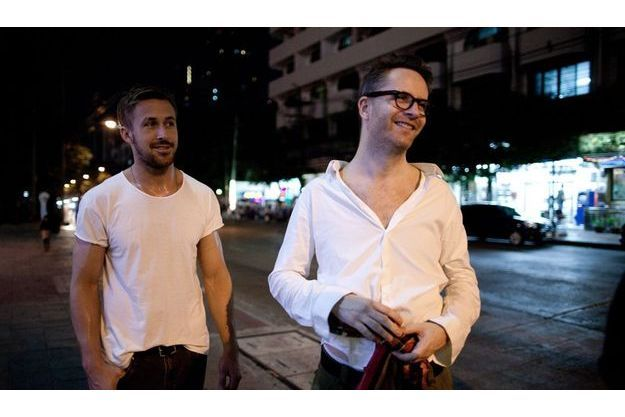 "Ryan Gosling et Nicolas Winding Refn sur le tournage d'""Only God Forgives""."