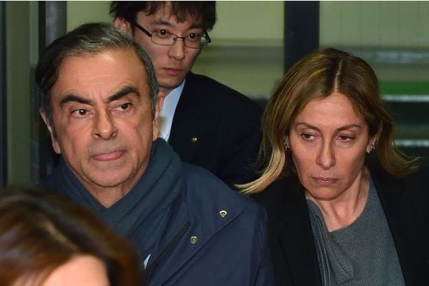 Carlos et Carole Ghosn à Tokyo le 3 avril dernier.