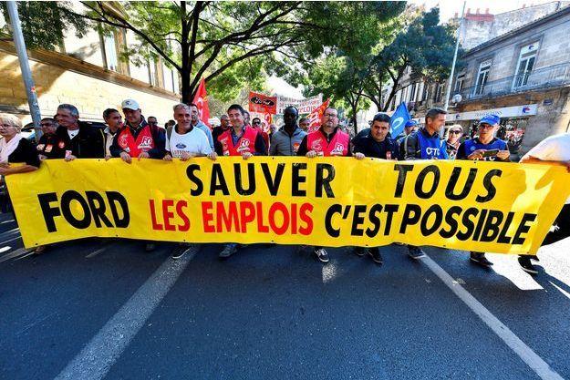 Manifestation des salariés de Ford Blanquefort, en octobre dernier.