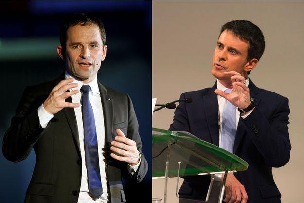Benoît Hamon à Paris en décembre et Manuel Valls en janvier à Paris.