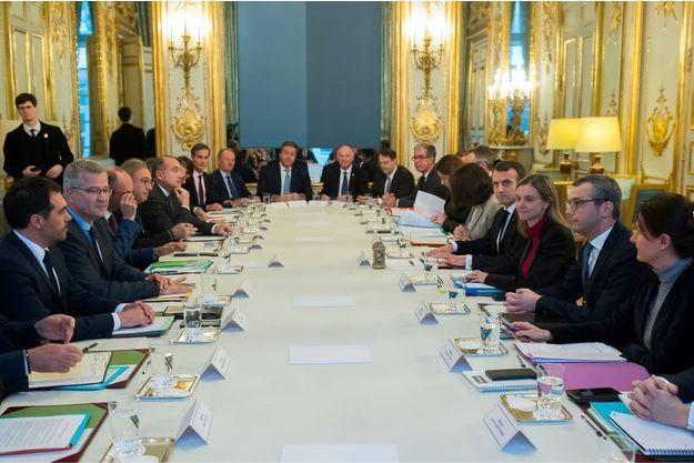 Réunion à l'Elysée, le 18 décembre dernier, avec les représentants des mutuelles.