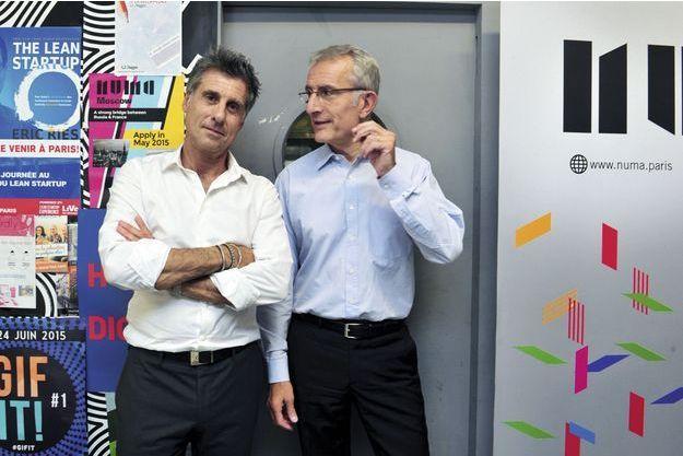 Marc Simoncini, investisseur historique de OuiCar, et Guillaume Pepy, le P-DG de la SNCF, le 25 juin.