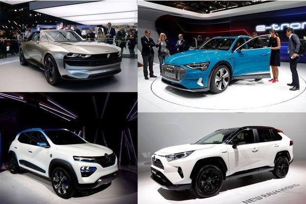 De g. à dr. : la Peugeot e-Legend, l'Audi e-tron, la Renault K-ZE et le Toyota Rav4.