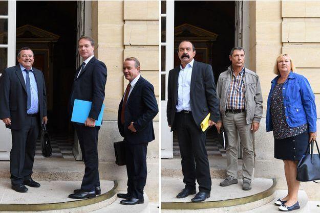 François Asselin de la CPME (image de gauche, au centre) et Philippe Martinez de la CGT (image de droite, à gauche).