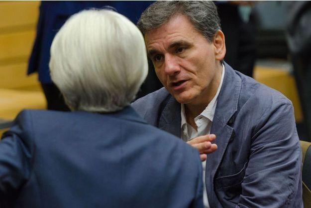 Le ministre des Finances grec, Euclide Tsakalotos, et la directrice du FMI, Christine Lagarde.