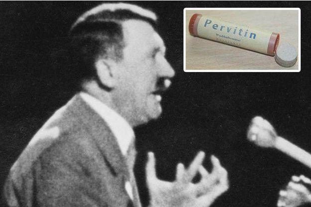 Hitler pendant un discours. En médaillon, un tube de métamphétamine commercialisé dans l'Allemagne nazie sous le nom de Pervitin