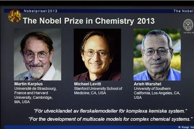 Martin Karplus, Michael Levitt et Arieh Warshel, les lauréats du Prix Nobel de chimie.
