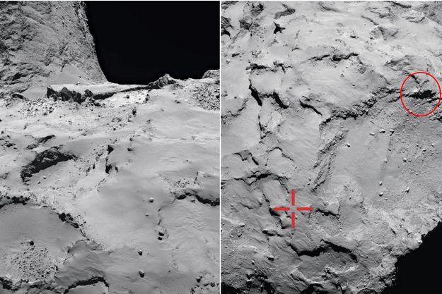 A g.La comète 67P-Churyumov-Gerasimenko, dite « Tchouri », photographiée par Rosetta. Elle est composée des matières qui ont servi à la formation des planètes du système solaire. A d.: La zone d'atterrissage visée (croix à gauche) était plate et bien éclairée. Mais après avoir touché le sol, Philae rebondit deux fois, et retombe contre la paroi d'une falaise (cercle à droite).