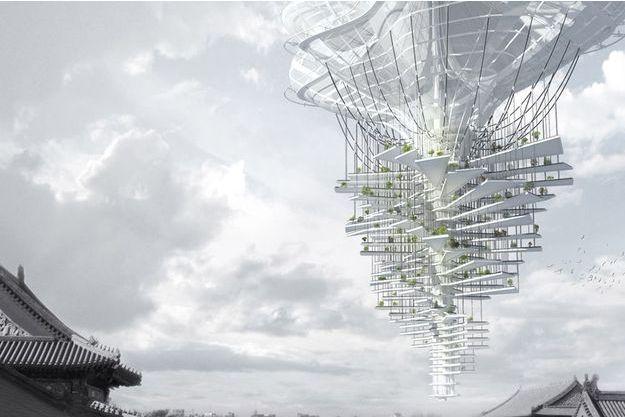 Un édifice de 500 mètres de hauteur construit autour d'un axe central.