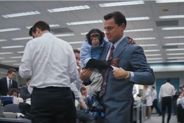 """Leonardo DiCaprio et le singe Chance dans """"Le Loup de Wall Street"""" de Martin Scorsese"""