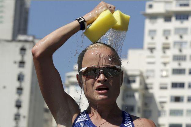 L'estonienne Leila Luik pendant le marathon des JO de Rio.