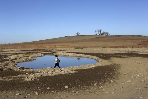 Déjà un paysage dévasté autour du lac Folsom en Californie.