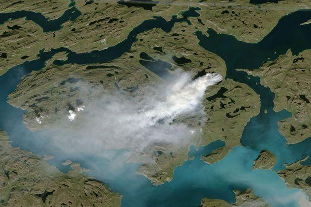Vue satellite d'un feu au Groenland, le 3 août.
