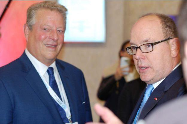 Al Gore et Albert de Monaco, lundi, à la COP21.