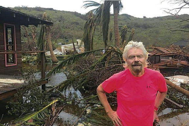 Richard Branson, devant sa propriété de Necker, son île privée dans els îles vierges britanniques le 12 septembre.