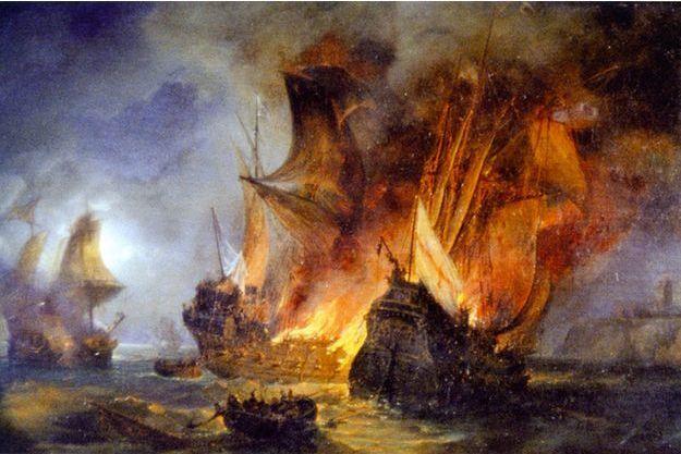 Illustration du combat de la Cordelière.