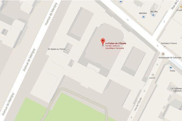 """Al-Qaïda au Yémen est """"localisé"""" à l'Elysée sur Google Maps."""