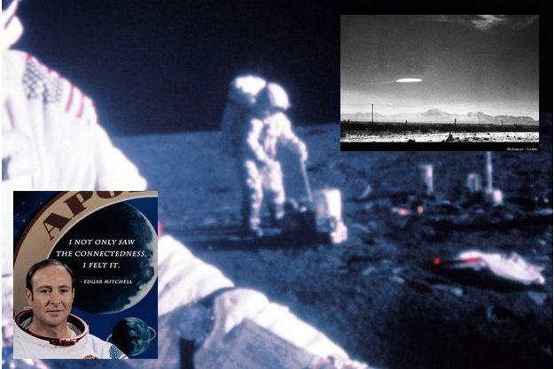 Edgar Mitchell sur la Lune en 1971. En médaillon, en h. à d., un OVNI prétendument photographié par un employé du gouvernement en 1964 au-dessus du site militaire de Holloman au Nouveau Mexique.