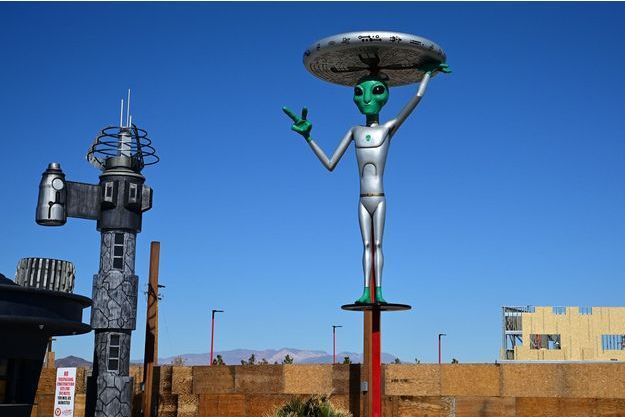 Une sculpture d'alien à Baker, en Californie