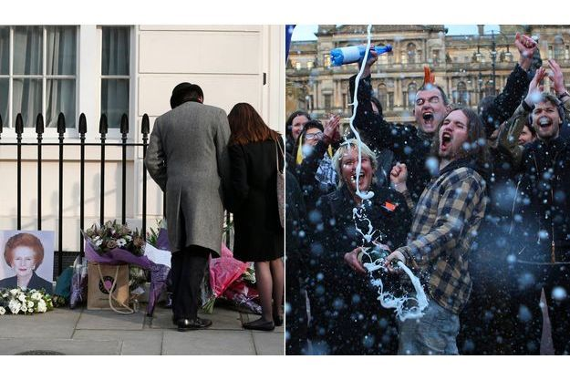 Des réactions contrastées à la mort de Margaret Thatcher devant le 10 Downing Street et à Glasgow.